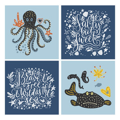 Vector sea cards set with handdrawn sea animals and ornate lettering pieces.