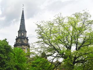 clock tower at Edinburgh Scotland - touristic landmarks Edinburgh city