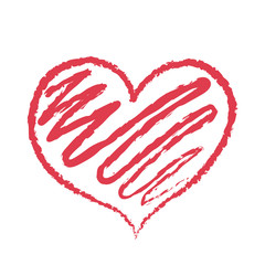 Red heart icon sketch vector illustration Valentines day