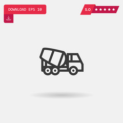 concrete mixer vector icon