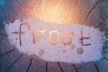 the inscription frost on the window.