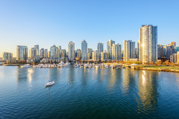 View from the Cambie Bridge. Downtown skyline in Vancouver, British Columbia, Canada.