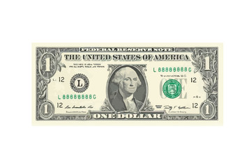 1 highly detailed dollar banknote. Vector Illustration