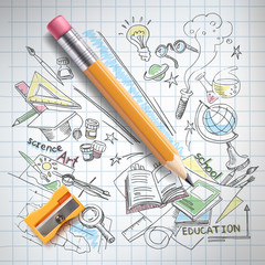 Vector realistic pencil, sharpener on notebook paper with colored sketch creative education, science, school hand drawn doodles symbols. Concept of idea, study, research and development illustration