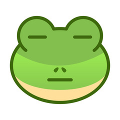 Flat Face Frog Emoticon