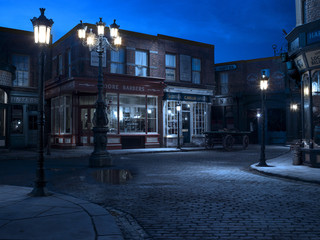 Stage scenery of vintage street and shop fronts at night