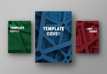Annual Report Cover Layouts with Industrial Metal Illustration