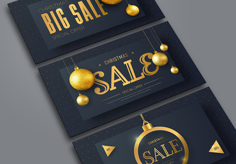3 Christmas Web Banners with Gold Ornaments