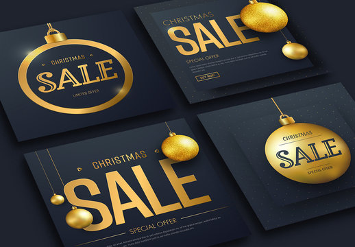 4 Christmas Sale Flyers with Gold Ornaments