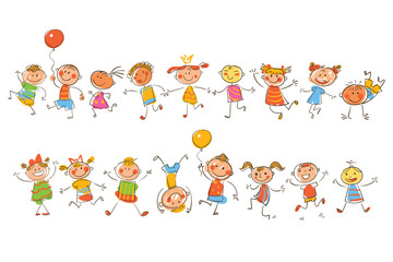 Cute happy kids. In the style of children's drawings