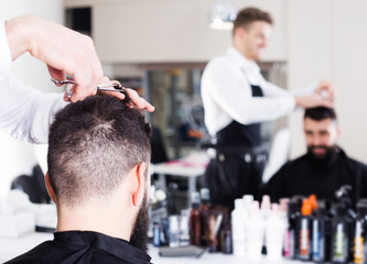 Hairdresser doing new haircut