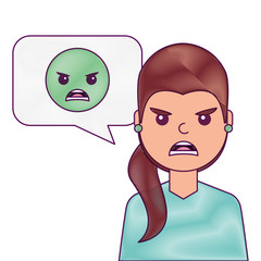 young woman with angry emoticon in speech bubble vector illustration