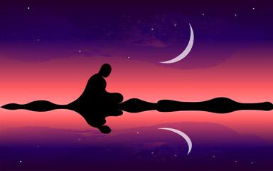 Man meditate, yoga. Buddhist Hindu meditation. Moon night