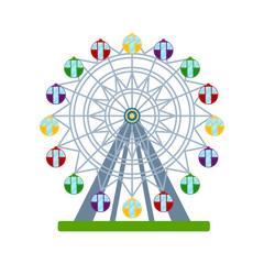 Colorful ferris wheel on white background, vector illustration