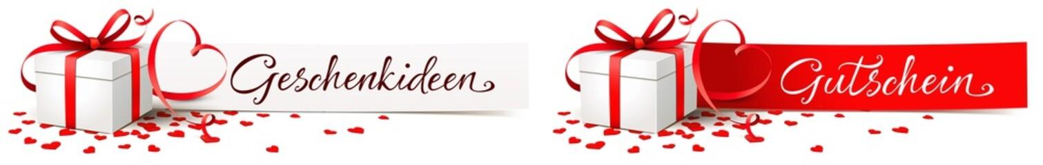 Zettel mit Geschenk Schachtel, Herz Schleife und Herz Konfetti - Gutschein, Geschenkideen