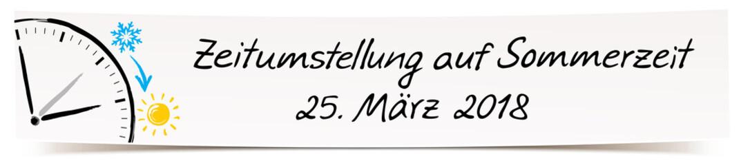 Banner mit Handschrift und Zeichnung Uhrzeiger - Zeitumstellung auf Sommerzeit, 27. März 2018