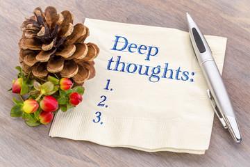 Deep thoughts list on napkin