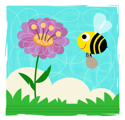 Bee and Flower - Cute spring clip-art of a bee and flower. Eps10