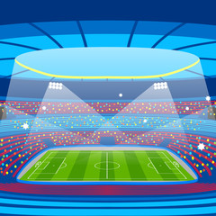 Soccer stadium during sports match. Football arena field