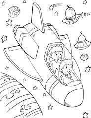 Printed kitchen splashbacks Cartoon draw Outer Space Astronauts Vector Illustration Art