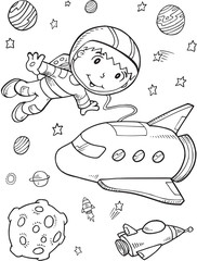 Photo sur cadre textile Cartoon draw Astronaut Outer Space Vector Illustration Art