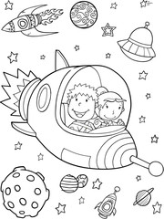 Foto op Plexiglas Cartoon draw Spaceship Rocket Outer Space Vector Illustration Art