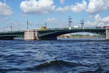 Saint Petersburg bridge, Trinity Bridge or Troitsky bridge over the Neva river
