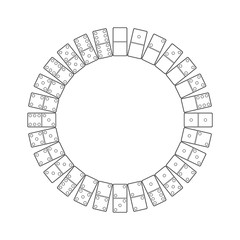 Circle of dominoes. Isolated on white background. Vector outline illustration.