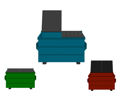 Recycling dumpster set. Isolated on white background.3d Vector illustration.