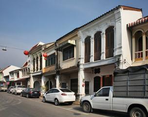 Old street in Phuket town. Phuket province. Thailand