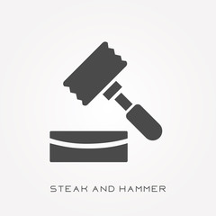 Silhouette icon steak and hammer