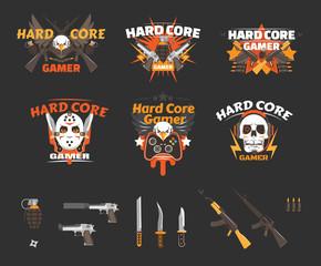 Hard Core Gaming logo badges collection and various guns set. Flat vector illustration game assets and avatars.