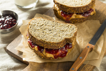 Sweet Homemade Gourmet Peanut Butter and Jelly Sandwich