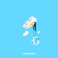 a man in a business suit climbed the stairs to a data cloud, an isometric image