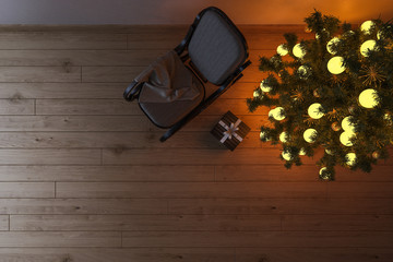 Top View of a Rocking Chair and a Christmas Tree in an Empty Room