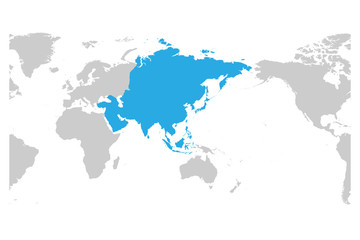 Simple World Map Flat. Category Asia continent blue marked in grey silhouette of World map  Simple
