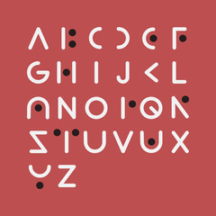 Vector of modern font and alphabet