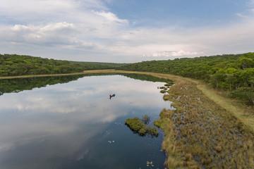 A lagoa Salia Kembo na província do Moxico em Angola