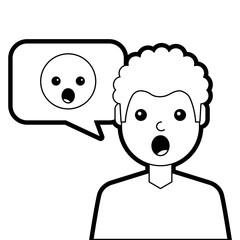man with surprised emoticon in speech bubble vector illustration line design
