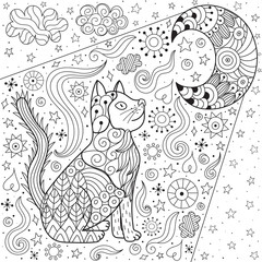 Dreaming cat looking at the moon coloring page. Doodle black and white magic background in zentangle style. Vector illustration