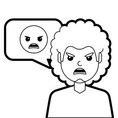 man with angry emoticon in speech bubble vector illustration line design
