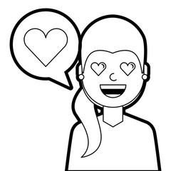 young woman with love heart in speech bubble vector illustration line design