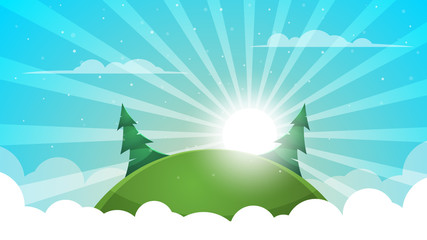 Cartoon landscape - abstract illustration. Sun, ray, glare, hill, fir, cloud.