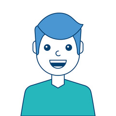 portrait man face laughing happy image vector illustration blue and green design