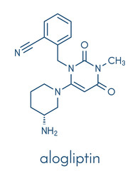Alogliptin diabetes drug molecule. Belongs to dipeptidyl peptidase 4 (DPP-4) or gliptin class of antidiabetic medicines. Skeletal formula.