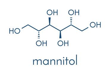 Mannitol (mannite, manna sugar) molecule. Used as sweetener, drug, etc. Skeletal formula.