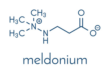 Meldonium anti-ischemic drug molecule. Used in treatment of angina and myocardial infarction. Skeletal formula.