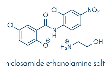 Niclosamide ethanolamine tapeworm drug molecule (anthelmintic). May be useful as antidiabetic drug, acting as a mitochondrial uncoupler. Skeletal formula.