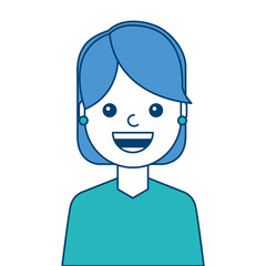portrait woman face smiling happy expression image vector illustration blue and green design