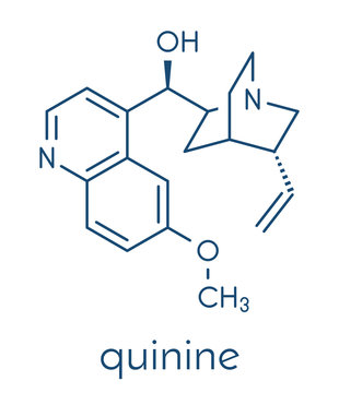 Quinine malaria drug molecule. Isolated from cinchona tree bark. Skeletal formula.
